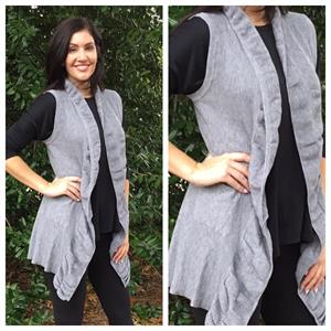 Ladies Better Sweater Vest With Scalloped Edges