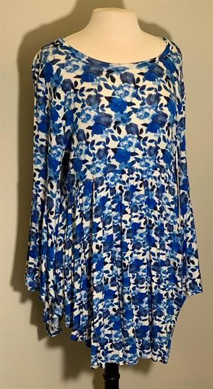 Bell Sleeve Print Tunic Ruffle Bottom for Ladies