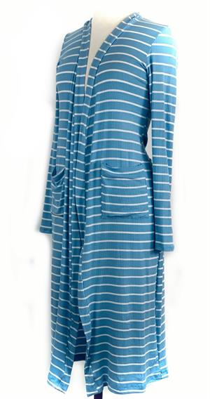 Striped Duster Sweater Cardigan Long- Blue and White