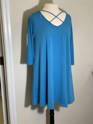 Ladies Elegant Criss Cross Dress Blue